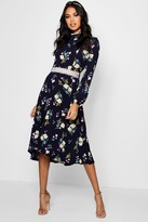 boohoo Boutique Isla Floral Long Sleeve Skater Dress