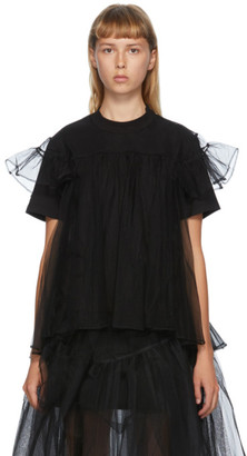 SHUSHU/TONG SSENSE Exclusive Black Tulle Overlay T-Shirt