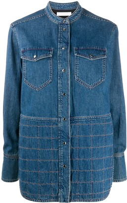 Chloé Contrast-Stitching Long-Sleeve Denim Shirt