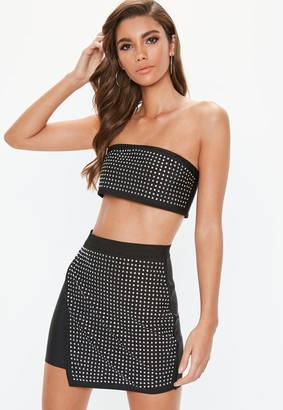 Missguided Petite Black Diamante Bandeau Crop Top
