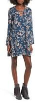 Everly Women's Lattice Detail Floral Print Shift Dress