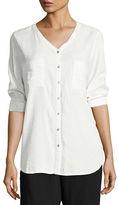 Eileen Fisher V-Neck Organic Cotton Gauze Pocket Shirt, Petite