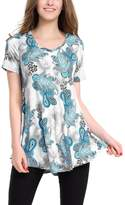 BAISHENGGT Women's V-neck Short Sleeve Flared Printed Tunic Top Black Floral
