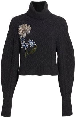 Oscar de la Renta Floral-Embroidered Virgin Wool & Cashmere Turtleneck Sweater