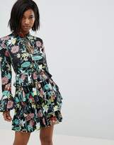 Club L High Neck Floral Dress With Tiered Frill Detail