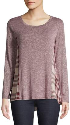 Style&Co. Style & Co. Petite Plaid High-Low T-Shirt
