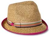 Mossimo Women's Pink Trim and Bow Sash Fedora Hat - Tan