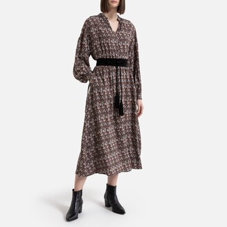 La Redoute Collections Floral Boho Midi Dress with Long Sleeves