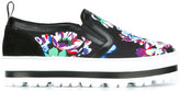 MSGM floral print trainers - women - PVC/Leather/rubber - 40