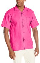 Stacy Adams Men's Linen Blend Solid Color Short-Sleeve Shirt