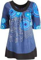 Aller Simplement Dark Blue Abstract Henna Scoop Neck Tunic - Plus