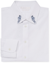 Alexander McQueen Embroidered Spread Collar Dress Shirt