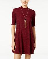 Amy Byer Juniors' Mock-Turtleneck Necklace Shift Dress