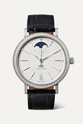 IWC SCHAFFHAUSEN - Portofino Automatic Moon Phase 37mm Stainless Steel, Alligator And Diamond Watch - Silver