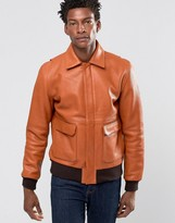 Wood Wood Dean Leather Bomber Contrast Cuff and Waist