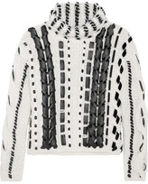 Altuzarra Caravan Leather-trimmed Cable-knit Wool-blend Sweater - Cream