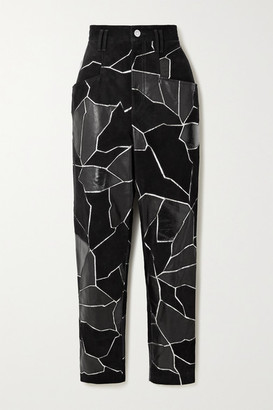 Isabel Marant Maeko Patchwork Metallic-trimmed Suede And Leather Tapered Pants - Black