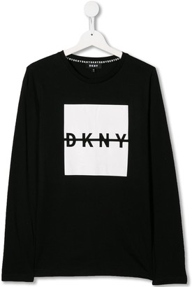 DKNY TEEN logo printed jersey top