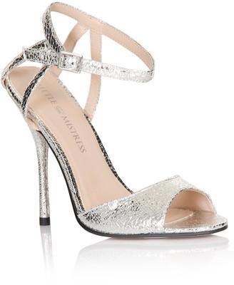 Little Mistress Footwear Silver Metallic Strap Peep Toe Heels