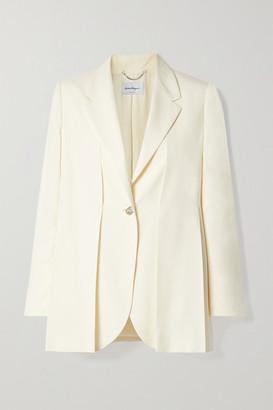Salvatore Ferragamo Pleated Washed-silk Blazer - Cream