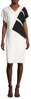 Narciso Rodriguez Asymmetrical Colorblocked Sheath Dress