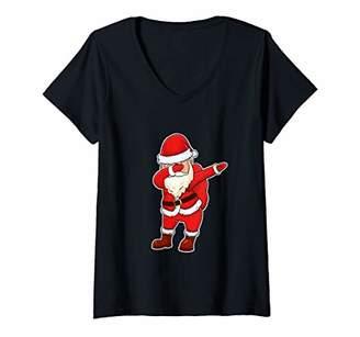 Womens Dabbing Santa Claus Funny Christmas Dab Gift Hip Hop Dance V-Neck T-Shirt