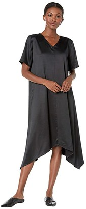 Eileen Fisher Recycled Polyester Satin V-Neck Short Sleeve Dress (Black) Women's Clothing
