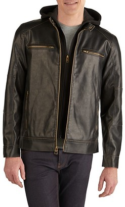 GUESS Zip-Out Fleece Faux Leather Jacket