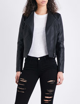 French Connection Stand-collar faux-leather jacket