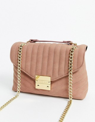 Carvela Honey quilted chain handle cross body bag in pink