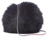 Diane von Furstenberg Women's Love Power Tipped Fox Puff Bag Black