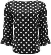 Wallis Black Polka Dot Flute Sleeve Blouse