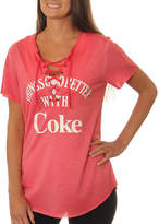 Asstd National Brand Coca-Cola Juniors' Things Go Better with Coke Lace-Up Washed Short Sleeve Graphic T-Shirt
