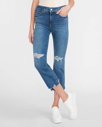 Express Mid Rise Ripped Cropped Flare Jeans