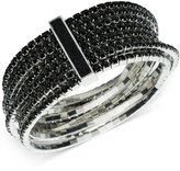 ABS by Allen Schwartz Silver-Tone Jet Crystal Multi-Row Stretch Bracelet