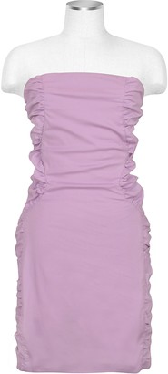 Hafize Ozbudak Lavender Cut-out Back Strapless Mini Cotton Dress