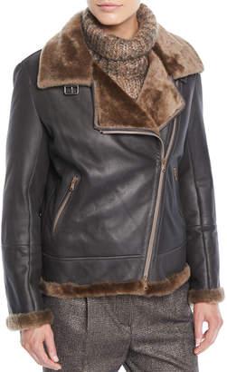 Brunello Cucinelli Zip-Front Shearling & Leather Moto Jacket w/ Monili Trim