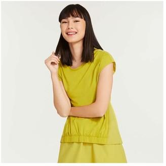 Joe Fresh Women's Elastic-Front Tee, Khaki Green (Size M)