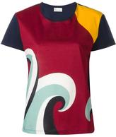 RED Valentino colour block printed blouse - women - Cotton - M