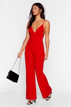 Nasty Gal Womens Going In Plunging Wide-Leg Jumpsuit - Red - 6, Red