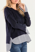 Miss Me Mock Layer Navy Sweater
