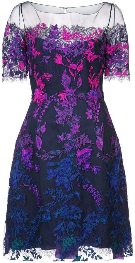 Marchesa floral embroidered mesh dress