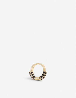 Otiumberg Oval onyx and 9ct gold huggie hoop earring