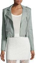 IRO Ashville Cropped Leather Jacket, Light Gray