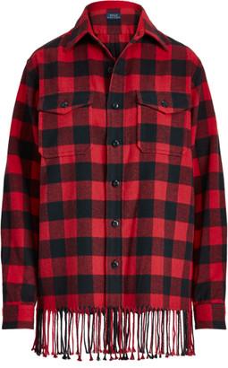 Ralph Lauren Fringe-Trim Plaid Shirt
