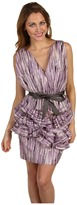 Vera Wang Cotton V-Neck with Ruffle Peplum Dress (Aubergine) - Apparel