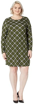 MICHAEL Michael Kors Size Bias Plaid Long Sleeve Dress (Evergreen) Women's Clothing