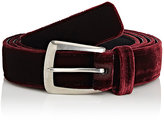 Saint Laurent Men's Velvet Belt-BURGUNDY