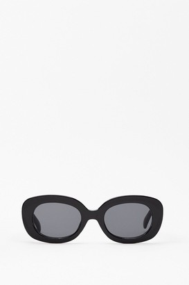 Nasty Gal Womens Hall of Frame Thick Rim Rounded Sunglasses - Black