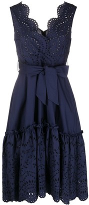 P.A.R.O.S.H. Broderie Anglaise Belted Midi Dress